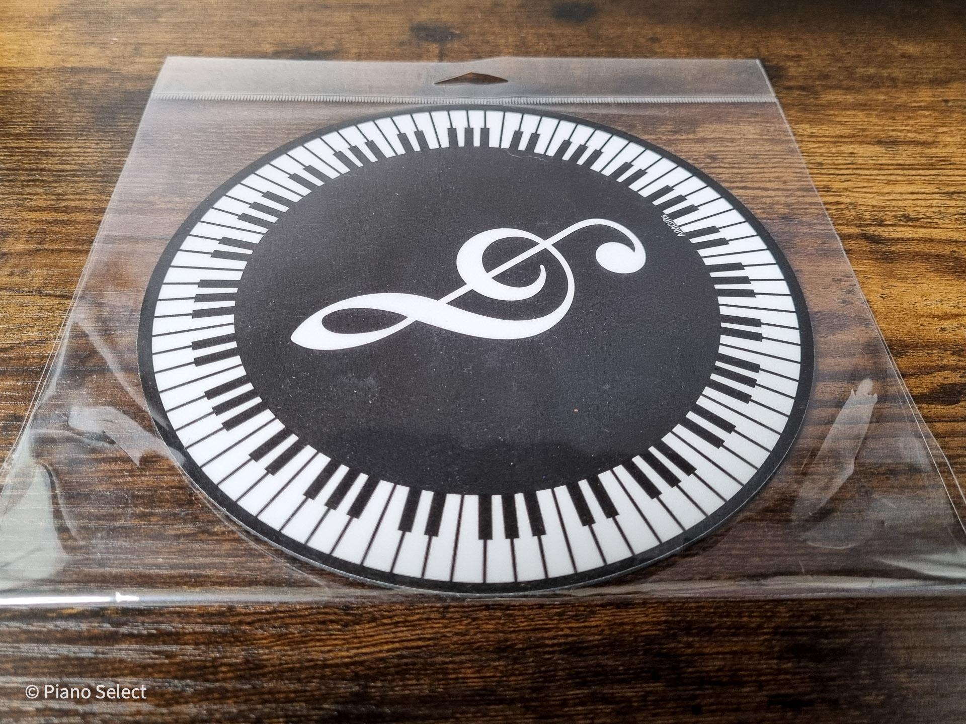 Muismat muziek rond - vioolsleutel pianotoetsen design