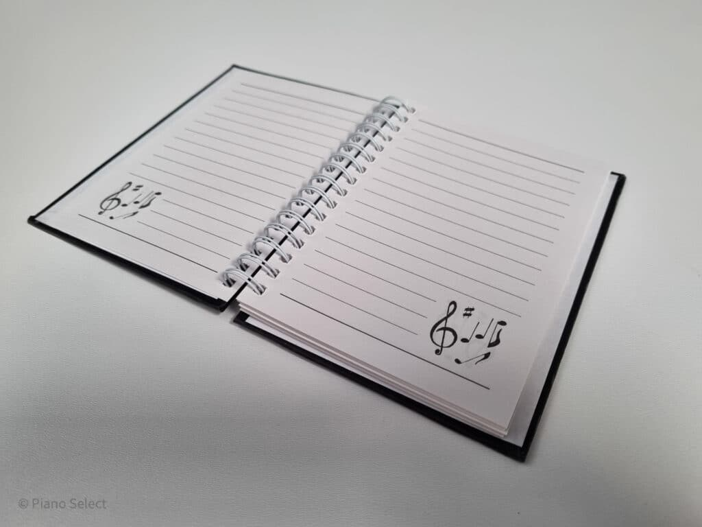 Notitieboek A6 muzieknoten design hardback spiraalgebonden 2