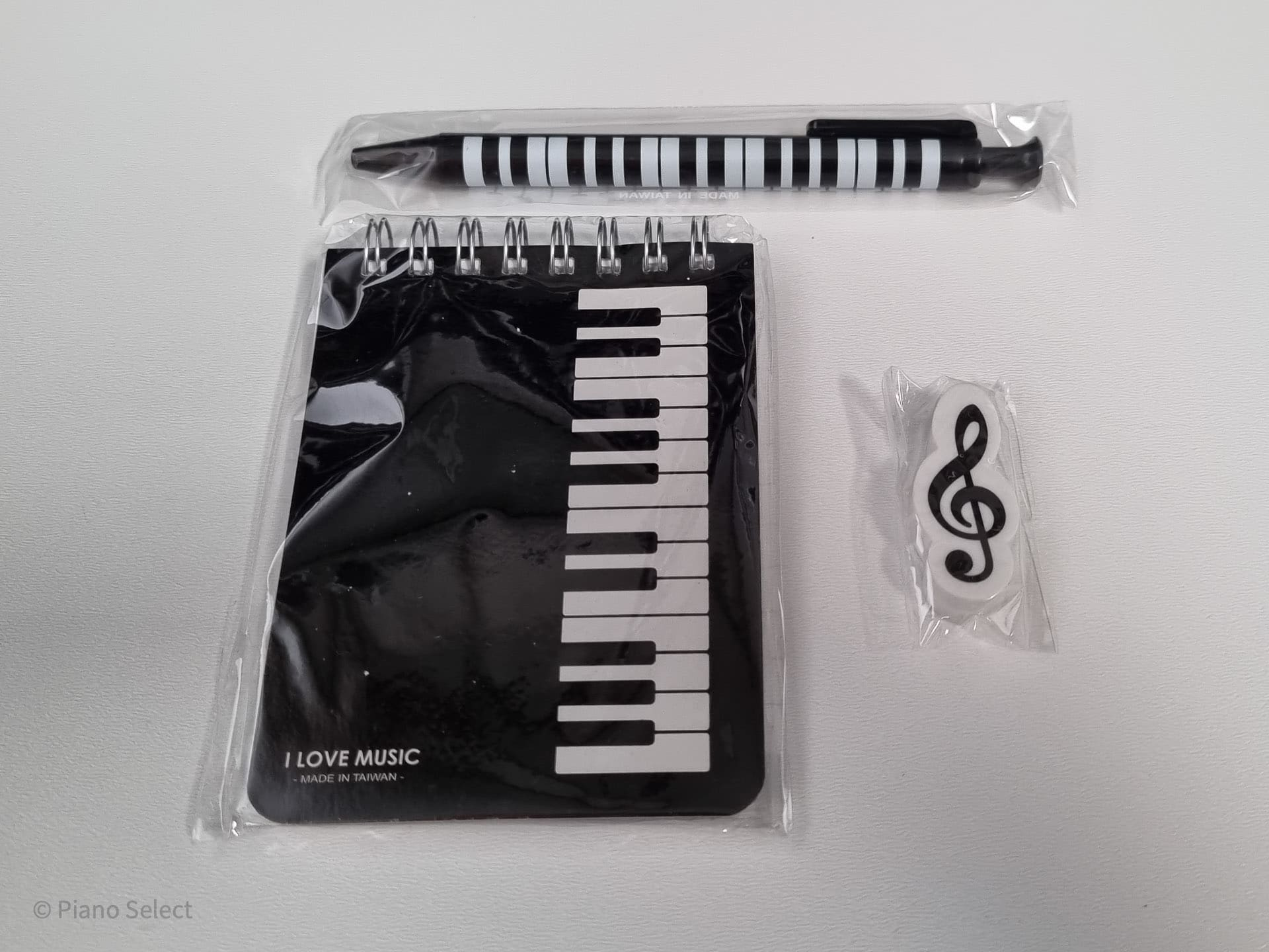 Schrijfset muziek - zwart pianotoetsen design