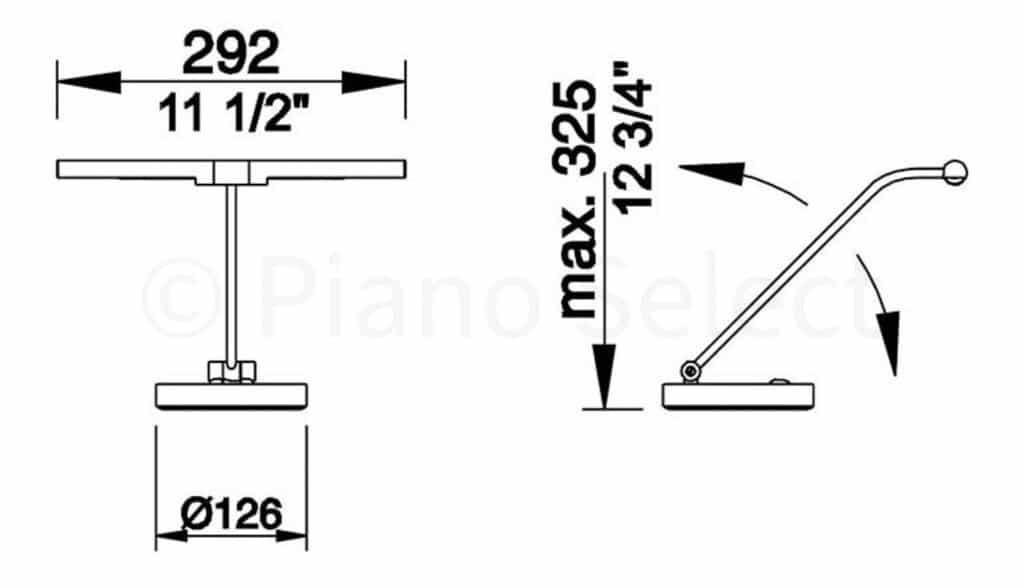 Jahn L4402 pianolamp Piano Messing mat